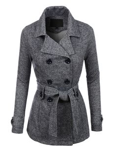 LE3NO Womens Double Breasted Fleece Pea Coat Jacket with Pockets