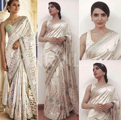 Satin Saree, Silk Satin, Indische Sarees, Simple Sarees, Pearl Dress, South Actress, Indian Clothes, Saree Styles, Saree Blouse