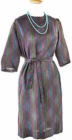 50s Diamond & Stripe Vintage Sheath Dress in Dark Jewel Tones w/ Sash Belt #HeyViv #Sheath #Everyday