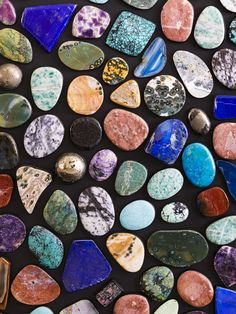I've always had an affinity for natural stones and rare minerals. I curated this gem assortment over the course of a year, allowing their moment to come to fruition in a unique bronze cabinet. We arranged each single stone for a painterly palette. Crayola Box, Room Colors, Colours, Wine Cabinets, Kelly Wearstler, Art Object, Jewel Tones, Interior And Exterior, Interior Design