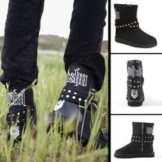 "Metal Mulisha Maidens Swan Dive Boots. Black faux suede ugg boot, ""Metal Mulisha"" embroidery across back, logo embroidery, ankle straps with silver circle stud detail, exposed zipper closure, and zebra faux fur lining. http://www.metalmulisha.com/shop/clothing/maidens-axs/footwear/swan-dive-boots/"