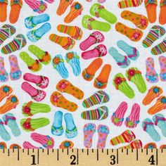Timeless Treasures Flip Floppin Summer Fun Flip Flops White