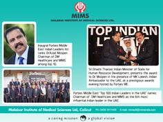 Inaugural Forbes Middle East Indian leaders list ranks Dr. Azad Moopen among top 10.