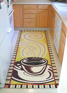 Tulips floorcloth in the kitchen how to use a for Painted vinyl floor cloth