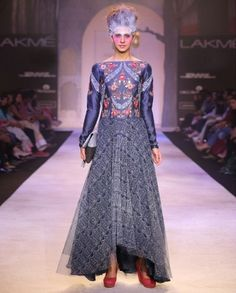 Indigo Blue Dress with Floral Embroidery- Buy Dresses,Anju Modi,Anju Modi Lakme '14 Online   Exclusively.in