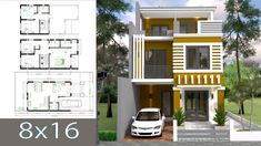 Home Design Plan with 5 Bedrooms Plot This villa is modeling by SAM-ARCHITECT With 3 stories level. It's has 5 bedrooms. House Layout Plans, House Layouts, House Floor Plans, House Front Design, Small House Design, Modern House Design, Building A Small Cabin, Building A House, Three Story House