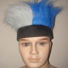 黑色头带+灰蓝毛
