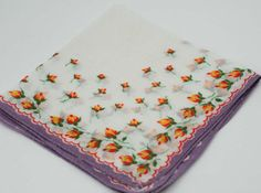 Vintage Hankie Lavender With Tiny Yellow Flowers  I3