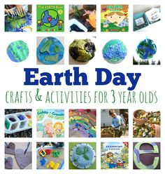 Earth day crafts and activities for three year olds. These are awesome hands on lessons to appreciate nature and planet Earth. Earth day books too.
