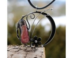 Dawn  Soldered Metal Pendant with Rhodochrosite by AtelierQ