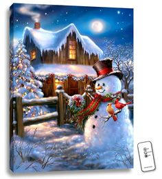 Woodhouse Christmas - Illuminated Fine Art – x Fully Backlit Artwork – Remote Control Included – Made in Oregon, USA – Bat Christmas Scenery, Christmas Cross, Country Christmas, Christmas Pictures, Christmas Snowman, Winter Christmas, Christmas Lights, Winter Snow, Xmas