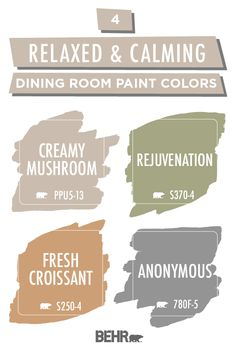Relaxed and soothing dining room ideas and inspiring colors Behr Your dining room should be a space where your family can come together and relax. Let Behr Paint help with these relaxed and calming colors. Shades of brown, gray, orange, and green come tog