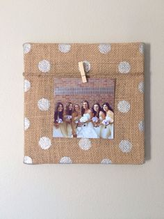 Burlap canvas - polka dot/patterned and picture clothes pinned to lace ribbon? Burlap canvas - polka dot/patterned and picture clothes pinned to lace ribbon?
