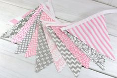 Bunting Fabric Banner, Flags, Photography Prop, Wedding Decoration, Nursery Decor - Pink and Gray Chevron, Dots, Flowers