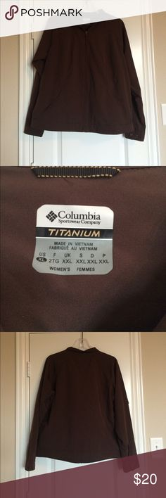 Women's Columbia titanium jacket Women's Columbia titanium jacket, size XL, brown color, sleaze have two buttons for adjustability, there are two front pockets both with a working zippers for security, body is 100% polyester Columbia Jackets & Coats Utility Jackets