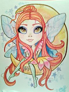 Fairy Moon Big Eye Goodnight Moon Fantasy Art by rockandrollhart