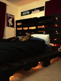 Pallet Bed with Lights - 15 Unique DIY Wooden #Pallet #Bed Ideas | DIY and Crafts
