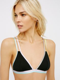 Finn Soft Bra | Soft triangle bra featuring multi-color adjustable straps and trims. Elastic for the perfect fit.