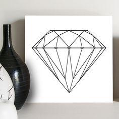Quadro preto e branco com um diamante desenhado. Adoro esse desenho!!!