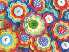 CIRCUS - Set of 3 Handmade Layered Felt Flower Embellishments in Blue Red Aqua White Lime Yellow / Felt Applique