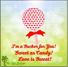 Lollipop Valentine with 3 Sentiments Full Color Digital File JPEG SVG Instant Download - pinned by pin4etsy.com