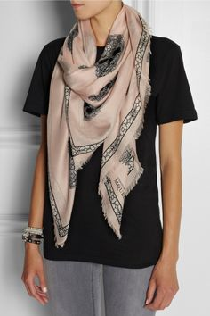 Alexander McQueen | Printed fine-knit modal and silk-blend scarf .