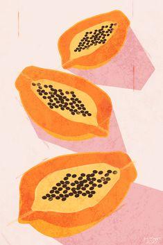 Papaya Art, Fruit Vector, Fruit Illustration, Fruit Painting, Fruit Print, Tropical Art, Compost, Printable Art, Art Decor