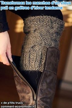 cut an old sweater sleeve and use as sock look-a-like without the bunchy-ness in your boot. Or use old sweater sleeves as leg warmers. Look Fashion, Diy Fashion, Winter Fashion, Womens Fashion, Funky Fashion, Fashion Ideas, Fashion 2014, Fashion Hacks, Fashion Shoes