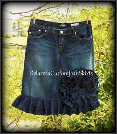 Jean Skirt Custom Order to Your Size  by CustomJeanSkirts on Etsy, $68.00
