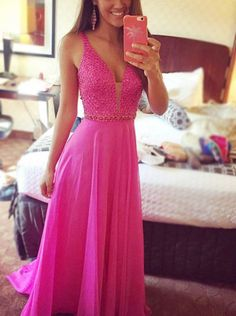 Charming Prom Dresses,A-Line Noble Prom Dresses,Deep V-Neck Prom Dresses,Beading Prom Dresses,Sexy Prom Dresses,PD390089