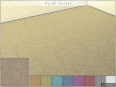 Soft, velvet carpet conatins 9 different colors. Found in TSR Category 'Sims 4 Floors'