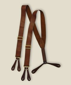 Brown leather, aged solid brass, and the accompanying knowledge that your suspenders are leather, like they should be. Suspenders Fashion, Leather Suspenders, Men's Shoes, Dress Shoes, Savile Row, Well Dressed Men, Gentleman Style, Bow Ties, Men's Accessories