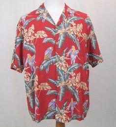 Paradise Found Shirt XL Hawaiian Classic Magnum PI Red Parrot Macaw Aloha Camp #ParadiseFound #Hawaiian