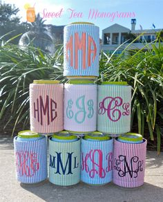 Seersucker Monogram Koozie from SweetTeaMonograms on Etsy. Saved to Things I want as gifts. Spring Break, Summer Time, Cute Gifts, Great Gifts, Down South, Seersucker, Nicole Miller, Machine Embroidery, Sewing Projects