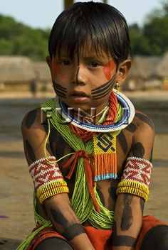 Kayapo boy. *The Kayapo people are indigenous peoples in Brazil, from the plain islands of the Mato Grosso and Pará in Brazil, south of the Amazon Basin and along Rio Xingu and its tributaries.