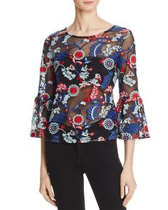 AQUA Embroidered Bell Sleeve Top