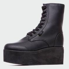 Y-R-U - Bottines Bloq Leather Noir