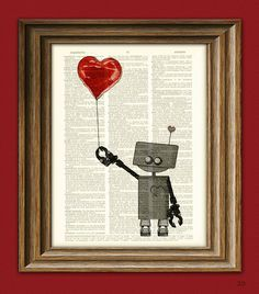The Love Bot 3000 ROBOT geeky Valentines Day by collageOrama, $7.99