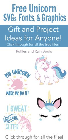 Get these 100 percent FREE unicorn SVG graphics files for crafts, gifts, and more! Includes quotes, graphics, fonts, and project ideas for any unicorn lover. #unicorn #freeSVG #cricut #silhouette #digitalcrafting #vinylcrafts #unicorncrafts #rufflesandrainboots
