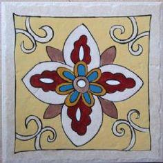 Hand painted tile by Monica tiles Tiles, Hand Painted, Stone, Flowers, Color, Room Tiles, Rock, Tile, Colour