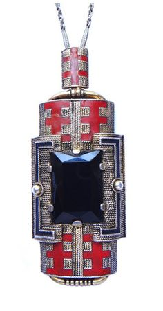 Theodor Fahrner Art Déco Pendant, A very stylish pendant with original silver chain. Designed by Gustav Braendle, made by Theodor Fahrner, Pforzheim ca. 1928. Decorated with onyx and enamelled, silver-gilt. Hallmarked: TF 935