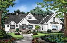 Modern farmhouse home plans combine classic farmhouse style with modern American amenities. View our modern farmhouse floor plans to find your dream home plan. House Plans One Story, Best House Plans, Dream House Plans, Story House, Dream Houses, One Story Homes, Craftsman Style Homes, Craftsman House Plans, Modern Craftsman