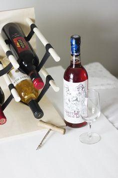 DIY Wood and Leather Wine Rack: