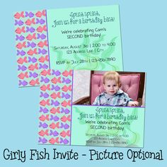 Splish splash! Girly Fish birthday invitation - pink and purple, underwater ocean theme, printable