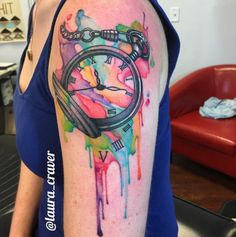 Watercolor Pocket Watch Tattoo by Laura Craver
