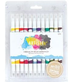Docrafts-Artiste Dual Tip Brush Markers: Vintage. Perfect for rubber s tamps, painting and blending. Vary pressure to alter thickness of line. The brush tip creates fluid lines and the marker tips are