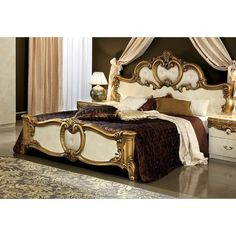 Barocco (Ivory/Gold) price for King Size Bed, This traditional Barocco style king size bedroom set in ivory/gold rich finish consists of queen size leather panel bed, 2 night stands, double dresser an Bedding Master Bedroom, Queen Bedroom, King Size Bedroom Sets, Traditional Bedroom, Traditional Ideas, Traditional Furniture, Upholstered Platform Bed, Panel Bed, Bed Styling