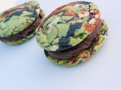 Manful Military Camo Cookie-wiches with Chocolate Ganache - for sale at tookies.etsy.com