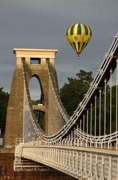 Clifton suspension Bridge, Bristol, UK and a beautiful hot air balloon.