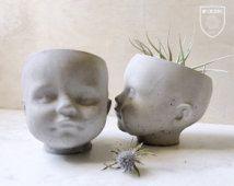 NP Doll Head Vessel / Planter, Concrete planter, succulent, air plant. cacti.